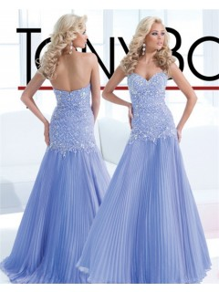 A Line Sweetheart Long Light Sky Blue Chiffon Pleated Prom Dress With Beading