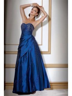 A Line Sweetheart Long Royal Blue Taffeta Beaded Evening Wear Dress