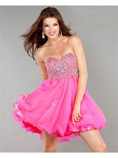 A Line Sweetheart Short Hot Pink Chiffon Beaded Sweet Sixteen Cocktail Party Dress