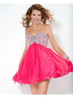A Line Sweetheart Short Mini Fuchsia Red Chiffon Beaded Club Cocktail Party Dress