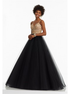 A Line Sweetheart Spaghetti Strap Black Tulle Gold Beaded Prom Dress