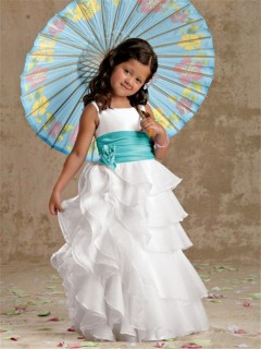 A-line Princess Scoop Floor Length White Organza Designer Flower Girl Dress With Sash Ruffles