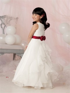A-line Princess Scoop Floor Length White Organza Flower Girl Dress With Beading Sash