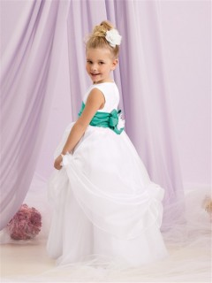 A-line Princess Scoop Floor Length White Organza Puffy Flower Girl Dress With Sash