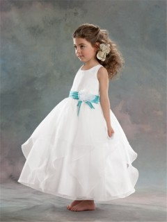 A-line Princess Scoop Tea Length White Organza Flower Girl Dress With Flower Sash