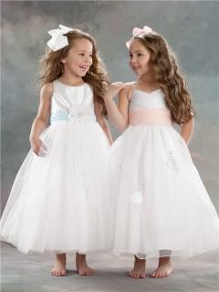 A-line Princess Scoop Tea Length White Tulle Designer Flower Girl Dress With Sash