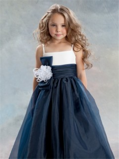 A-line Princess Spaghetti Strap Tea Length Navy Blue Organza Flower Girl Dress With Flower