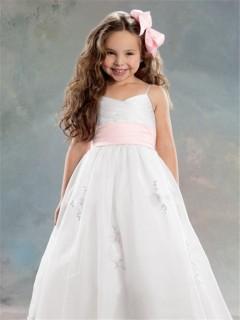 A-line Princess Spaghetti Strap Tea Length White Organza Flower Girl Dress With Pink Sash