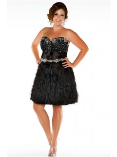 A line Strapless Short/ Mini Black Feathers Plus Size Prom Dress