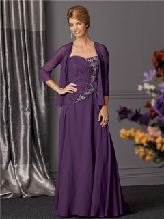 A line long purple chiffon beaded mother of the bride dress with jacket