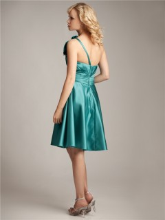 A line one shoulder knee length short jade silk bridesmaid dress with bow