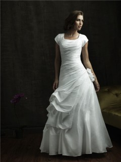 A line square cap sleeve taffeta modest wedding dress