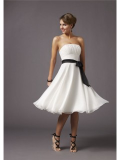 A line strapless knee length white chiffon bridesmaid dress with sash