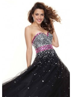 A line sweetheart floor length black red tulle prom dress with sequins