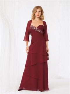 A line sweetheart long burgundy chiffon beaded mother of the bride dress with jacket
