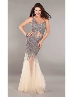 Asymmetrical Mermaid Open Back Champagne Tulle Beaded See Through Prom Dress