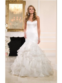 Asymmetrical Mermaid Sweetheart Satin Organza Ruffle Wedding Dress With Buttons