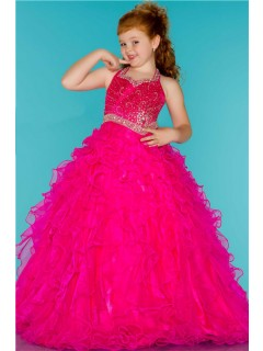 Ball Gown Halter Hot Pink Ruffle Beaded Cute Little Flower Girl Prom Dress