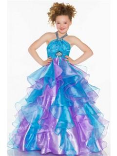 Ball Gown Halter Long Turquoise Purple Organza Ruffle Little Girl Prom Dress