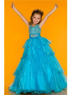 Ball Gown Halter Long Turquoise Ruffle Beading Little Flower Girl Party Prom Dress