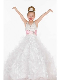 Ball Gown Halter Long White Pink Tulle Beaded Little Girl Prom Dress With Sash