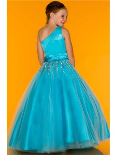 Ball Gown One Shoulder Blue Turquoise Tulle Beaded Flower Girl Evening Prom Dress