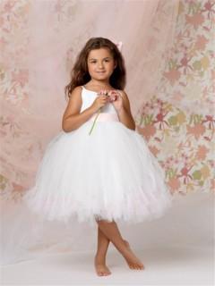 Ball Gown Spaghetti Strap Tea Length White Tulle Tutu Flower Girl Dress with Sash