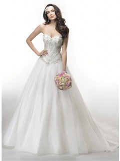 Ball Gown Strapless Drop Waist Embroidery Satin Organza Wedding Dress Corset Back