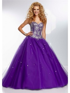 Ball Gown Strapless Sweetheart Long Deep Purple Tulle Beaded Prom Dress