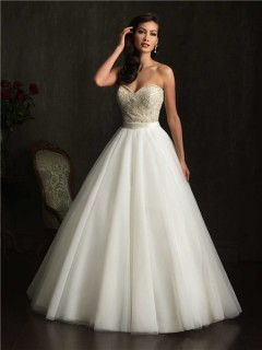 Ball Gown Strapless Sweetheart Tulle Embroidery Beaded Wedding Dress With Sash