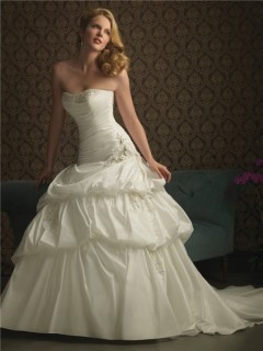 Ball Gown Strapless Taffeta Puffy Wedding Dress With Ruching Beading