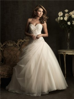 Ball Gown Sweetheart Champagne Color Tulle Wedding Dress With Sparkle Beading