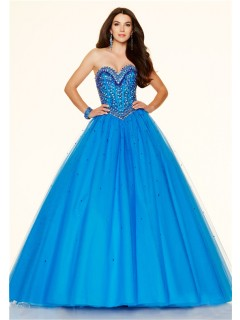 Ball Gown Sweetheart Drop Waist Corset Blue Tulle Beaded Prom Dress