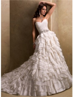 Ball Gown Sweetheart Layered Ivory Organza Wedding Dress With Sparkle Beading