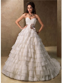 Ball Gown Sweetheart Layered Organza Ruffle Wedding Dress With Ribbon Sash