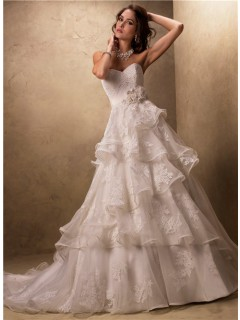 Ball Gown Sweetheart Layered Ruffled Tulle Lace Wedding Dress With Flowers Belt
