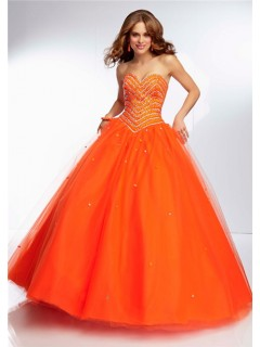 Ball Gown Sweetheart Neckline Long Orange Tulle Tonal Beaded Prom Dress Corset Back