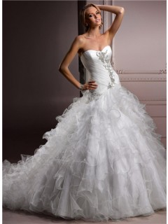 Ball Gown Sweetheart Puffy Organza Ruffle Wedding Dress With Pearls Crystals