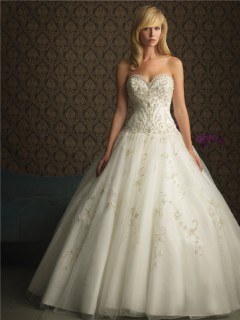 Ball Gown Sweetheart Puffy Tulle Wedding Dress With Embroidery Pearls Beading