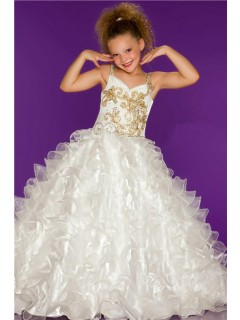 Ball Gown White Organza Ruffle Gold Beaded Little Flower Girl Party Prom Dress