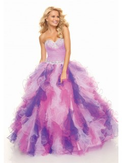 Ball Gown sweetheart floor length organza multi color prom dress with ruffles