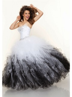 Ball Gown sweetheart floor length white black multi color prom dress with ruffles