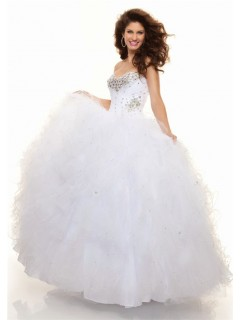 Ball Gown sweetheart floor length white organza prom dress with ruffles