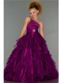 Ball One Shoulder Long Purple Beaded Organza Ruffle Little Girl Evening Prom Dress