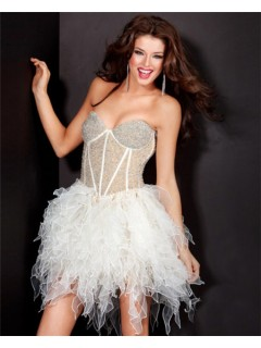 Ball Sweetheart Short White Organza Beaded Corset Night Out Cocktail Party Dress