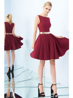 Bateau Neckline Full Back Short Burgundy Satin Party Prom Dress Metal Belt