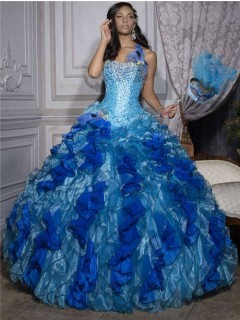 Beautiful Ball Gown Blue Organza Quinceanera Dress With Beading Feathers Ruffles