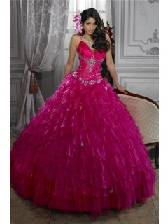 Beautiful Ball Gown Fuchsia Organza Quinceanera Dress With Beading Ruffles