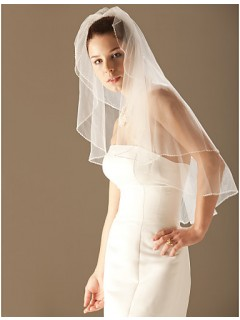 Beautiful Two layer Ivory Tulle Wedding Bridal Veil With Beaded