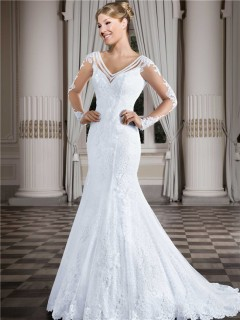 Charming Mermaid V Neck Open Back Long Sleeve Lace Wedding Dress